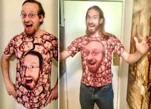 Модник увидел на футболке своё лицо, но сюрприз был впереди. На принте другой мужчина, но верится с трудом