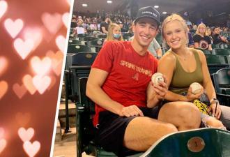 Пара пришла на свидание на матч, и романтика вышла из чата. Увидев себя на экране, они поняли — за ними следят