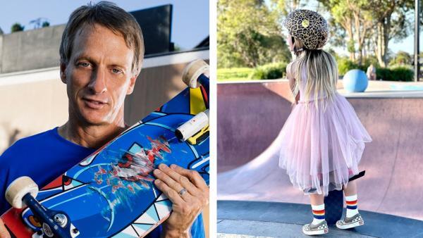 Шестилетка надела розовое платье, леопардовый шлем, и Тони Хоуку пора подвинуться. На скейте она круче профи