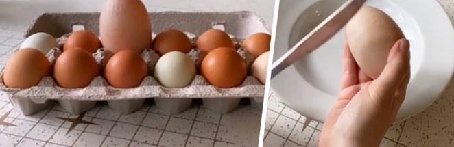 Хозяйка кур показала яйцо-гиганта, но лучше бы она его не трогала. Стоило разбить находку, и аппетит пропал