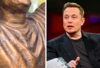 Илон Маск превратился в статую и уже не тот. Мем — скульптура Криштиану Роналду, подвинься, соперник идёт