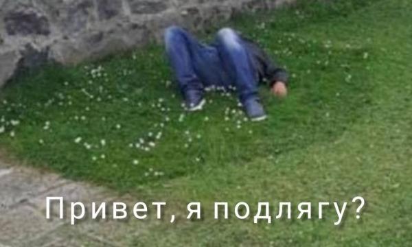 Привет, я подлягу? Прохожий отключился на траве и стал мемом — вся жизнь в жару +35 в одном фото