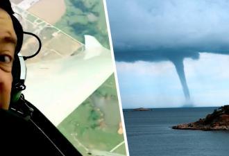 Пилота закружило в небе, и он понял — это шанс. Кто ещё может похвастаться селфи-видео с торнадо?