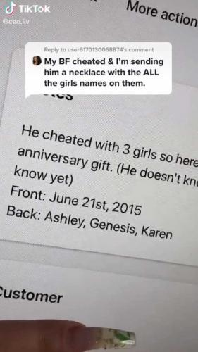 Девушка заказала подарок парню, но тот не обрадуется сюрпризу. Стоит взглянуть на ожерелье и все измены