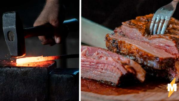 Стейк для брутальных подан. Кузнец пожарил мясо без сковородки, и как вам такое любители well-done