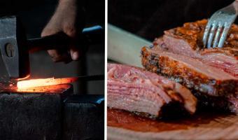 Стейк для брутальных подан. Кузнец пожарил мясо без сковородки и показал, что такое настоящая адская кухня