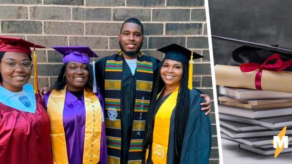 Трое детей и четыре выпускника. Мать окончила колледж спустя 30 лет