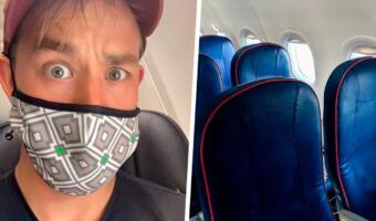 Блогер придумал, как в самолёте убрать ногу соседа с подлокотника. Просто добавь воды