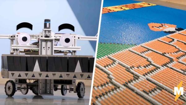 "Робот за сутки собрал фреску ""Супер Марио"" из 100 тысяч домино"