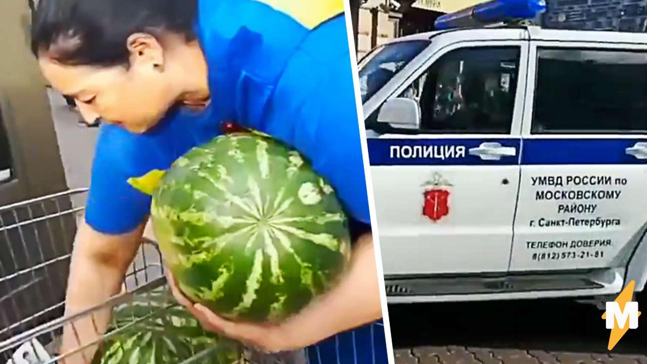 Петербуржцы на видео разобрали у продавца арбузы, пока его оформляла полиция