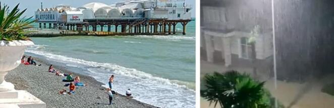 Жители Сочи сняли на видео, как их город смывало мощным ливнем