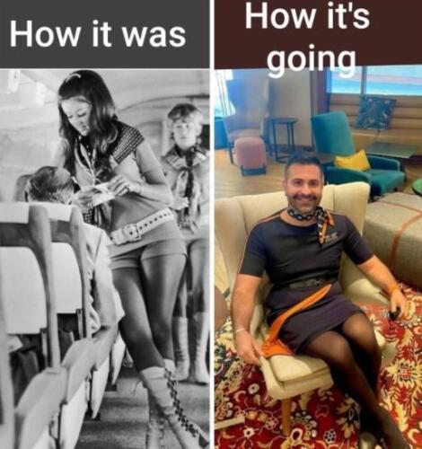 Мужчина в платье и со щетиной стал стюардессой на американских авиалиниях