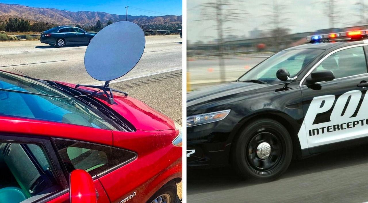 Вопрос  зачем водитель прикрутил к авто тарелку. Ответ удивил даже гаишника, который за карьеру видел всё