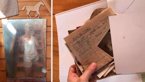 Хозяйка нашла в старинном зеркале привет из прошлого. Внутри фото и письма трёх поколений