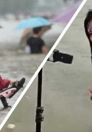 Блогеры снимают видео о серьёзных наводнениях в Китае, лёжа в спокойной реке