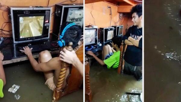 На Филиппинах геймеры продолжили играть в затопленном наводнением интернет-кафе