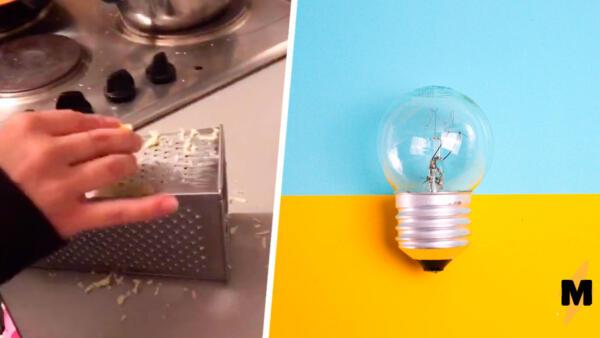 Как натирать сыр и не пачкать посуду? Если перевернуть тёрку, тарелка вам не понадобится