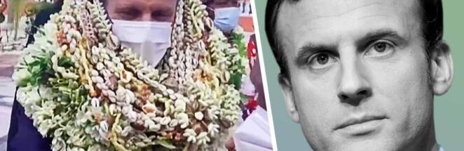 Кадры с Эмманюэлем Макроном в цветочных венках до самых колен оказались фейком