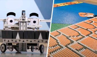 Робот за сутки собрал фреску «Супер Марио» из 100 тысяч домино