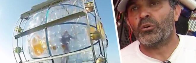 Бегун поплыл из Майами в Нью-Йорк в гидропузыре, похожем на колесо для хомяка