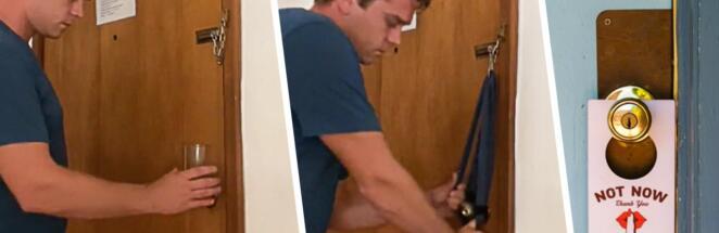 Экс-морпех показал, что обезопасить себя в отеле можно, заблокировав дверь ремнём