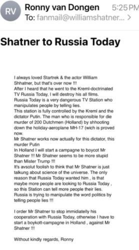 """Уильям Шетнер о Маргарите Симоньян: """"Я не знаю эту женщину"""". Так радость о Капитане Кирке на RT и улетучилась"""