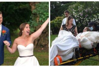 Невеста вернулась на свадьбу после того, как уехала в больницу с вывихом колена