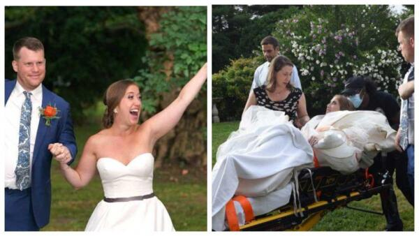 Невеста вывихнула колено на свадьбе, уехала в больницу, а затем вернулась на банкет