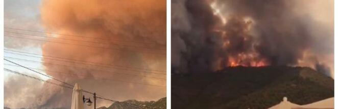 Туристы снимают на видео охваченные огнём улицы и курорты Турции