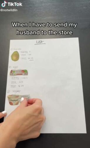Список покупок в ярких картинках. Жена составляет шоплист супругу, как ребёнку, и гневит мужчин