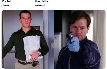 """Пользователи твиттера делают мемы о планах на осень после новостей о """"дельта""""-штамме COVID-19"""
