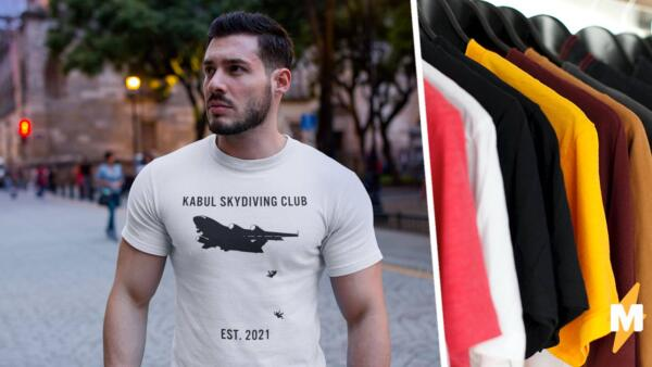 Клуб кабульских парашютистов. Дизайнеры выпускают футболки с падающими с самолёта беженцами