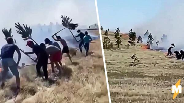 Жители Башкирии на видео тушат пожар ветками и ковриками для дома