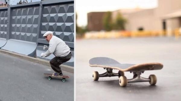 В Санкт-Петербурге 73-летний пенсионер мастерски катается на скейтборде на видео