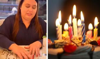 Персонал ресторана трогательно поздравил незрячую девушку с днём рождения с помощью шрифта Брайля