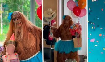 Аниматор в костюме йети пришёл на праздник к детям и довёл их до истерики на видео
