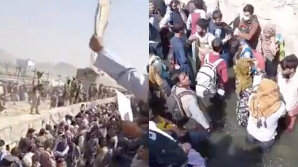 Давка и паника в аэропорту Кабула. Беженцы пытаются покинуть Афганистан за неделю до завершения эвакуации
