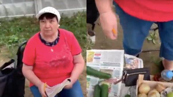 Пранкер Егор Чернов разгромил лоток продавщицы-пенсионерки. Яблоки рассыпались, но не дизлайки