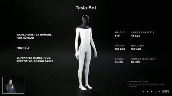 Илон Маск объявил о выход человекоподобного робота Tesla Bot в 2022 году