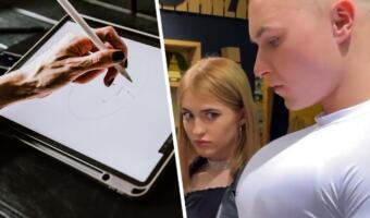 Художники вдохновились видеопранком и рисуют персонажей, смотрящих друзьям на грудь