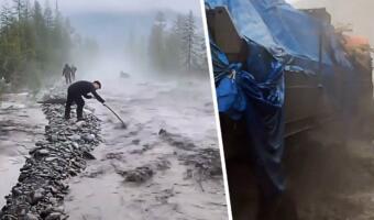 Федеральная трасса «Колыма» пылала, а теперь течёт рекой. На видео машины штурмуют дорогу через волны