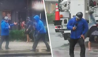 Метеоролог на видео гнётся к земле от урагана «Ида», пока прохожий на фоне беззаботно делает колесо