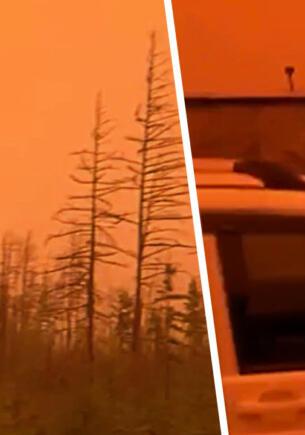 В сёлах Якутии из-за дыма от пожаров пропало солнце и небо стало алым
