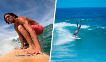 Йог встал на доску и показал сёрфинг для просветлённых. На видео он едет по волне, стоя на руках
