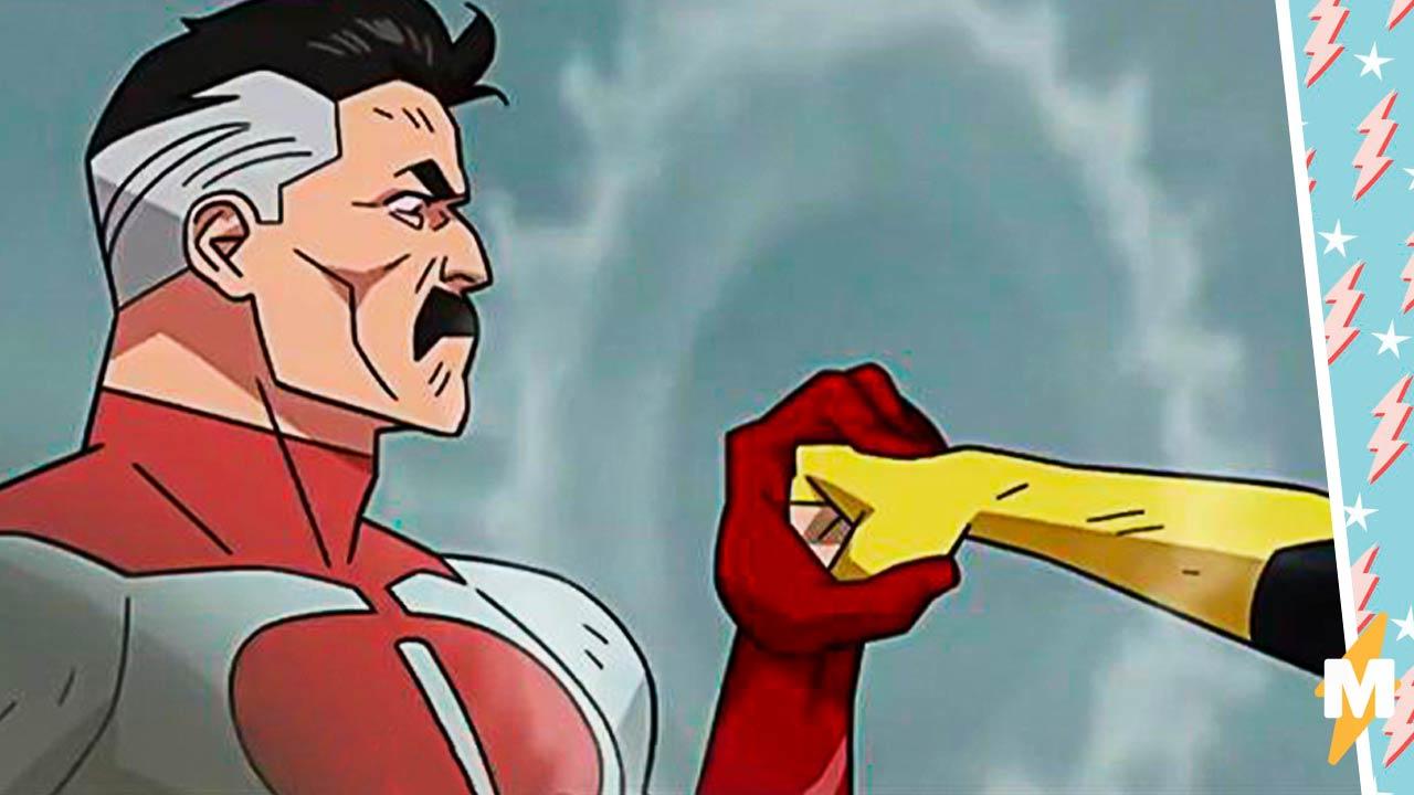 Усатый супергерой Омни-Мэн уверенно поймал кулак и в тренде показал людям, как выигрывать споры