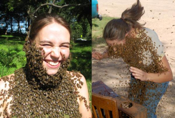 """Кот пчёлок уважает, того они не жалят. Самозванный """"Король пчёл"""" разводит насекомых у себя на теле"""