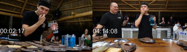 Блогер решил установить мировой рекорд, съев 6 килограмм стейков за считанные минуты. .