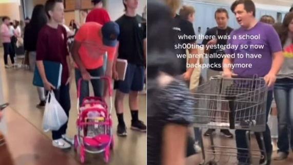 Вместо рюкзаков дорожные конусы и тазы. Как школьники справляются с запретом на сумки