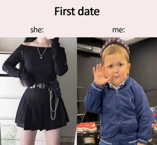 Мем про первое свидание и нелепый внешний вид