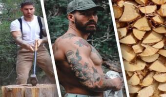 Накачанный блогер просто рубит дрова и зарабатывает миллионы лайков. Вместо рекламы — топор и пресс